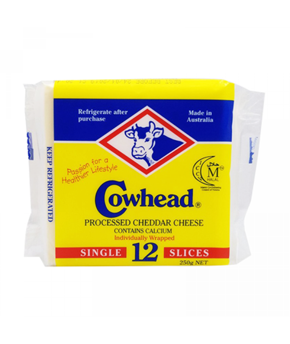 Cowhead Processed Cheddar Cheese 12s 250g