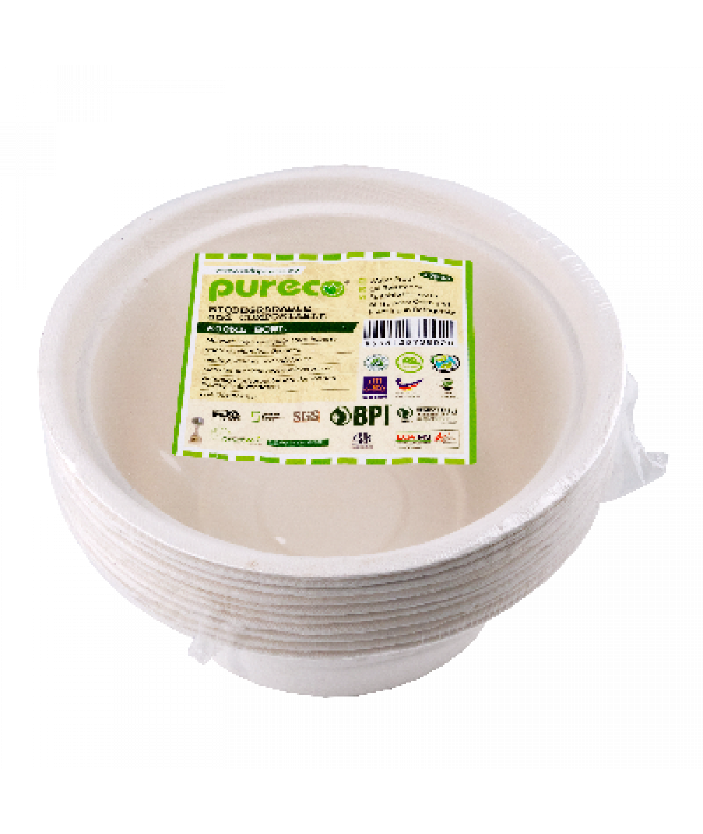 Eco Disposable Biodegradable Paper 600ml Bowl 10pc