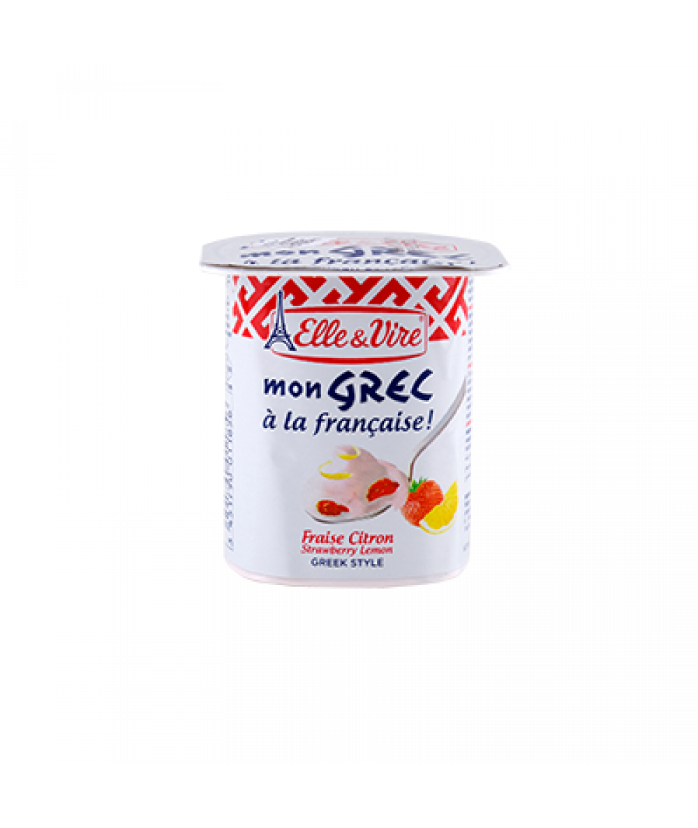 Elle & Vire Mon Grec Strawberry Lemon 125g
