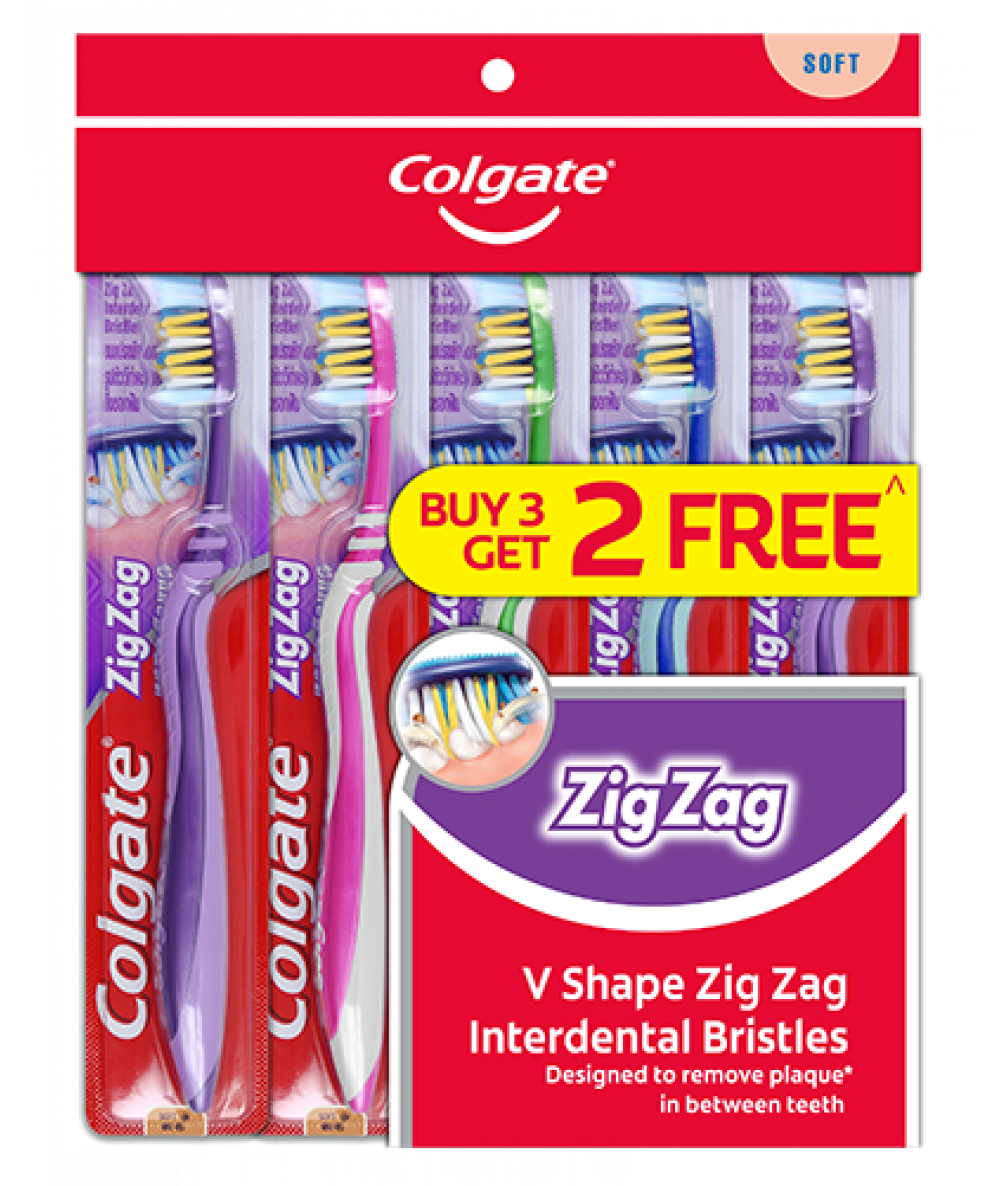 Colgate Toothbrush Zig Zag Soft 3+2pcs,