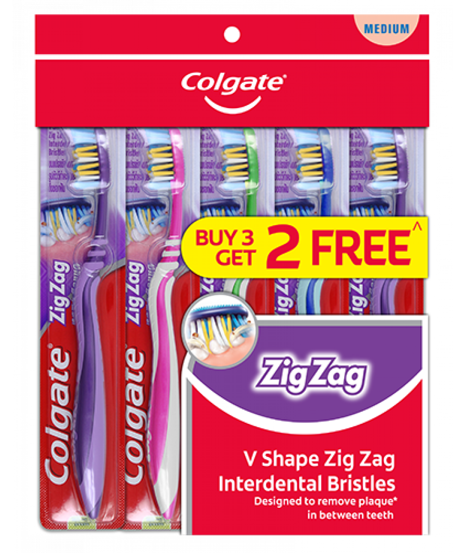 Colgate Toothbrush Zig Zag Med 3+2pcs,